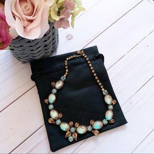 Vintage Regency Amber & Blue Moonstone Necklace